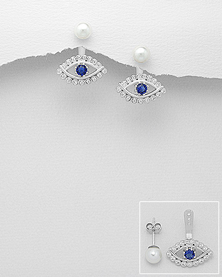 964-689 - 925 Sterling Silver Eye Push-Back Earrings Decorated With CZ & Simulated Pearl