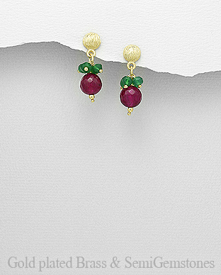 1406-333A - DESIRE by 7k - 18K 0.5 Micron Yellow Gold Over Solid Brass Push-Back Earrings Decorated With GemStones