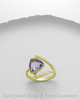 1406-357 - DESIRE by 7k - 18K 0.5 Micron Yellow Gold Over Solid Brass Ring Decorated With GemStones