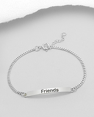 706-20016 - 925 Sterling Silver Tag Bracelet, Engraved with Friends