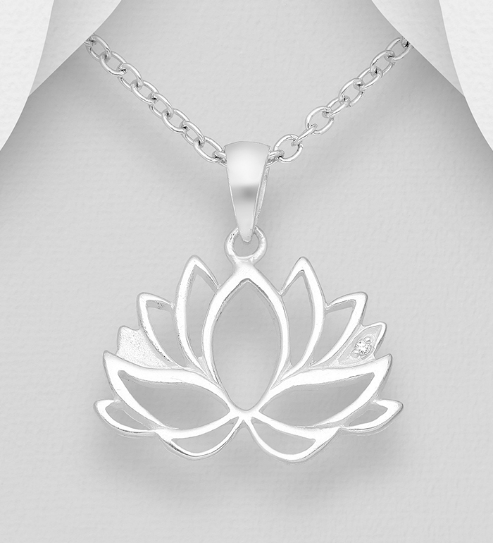 701-15960 - 925 Sterling Silver Lotus Pendant Decorated with CZ Simulated Diamonds