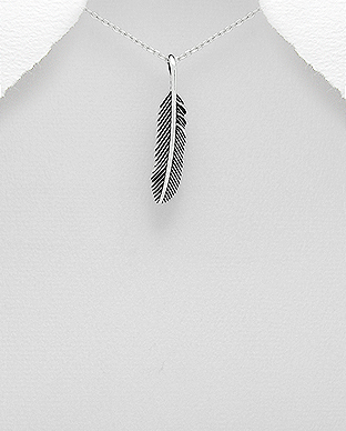 706-20385 - 925 Sterling Silver Feather Pendant