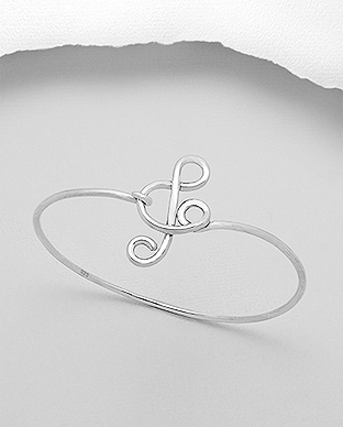 706-20427 - 925 Sterling Silver Musical Notes Bangle