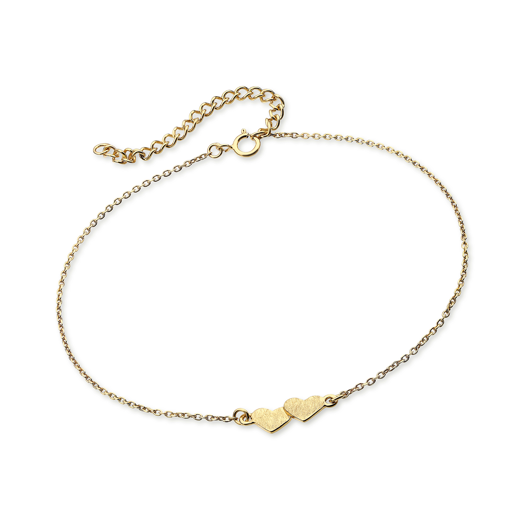 1535-393 - 925 Sterling Silver Bracelet Featuring Heart Plated With 1 Micron 18K Yellow Gold (Matt Look)