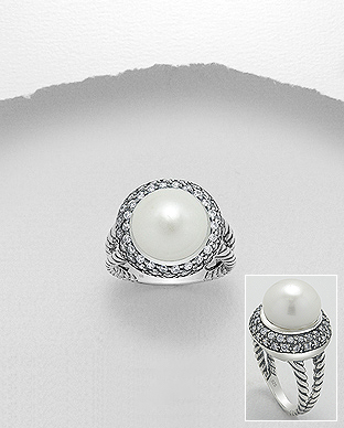 382-3825 - 925 Sterling Silver Ring Decorated With CZ And Fresh Water Pearl
