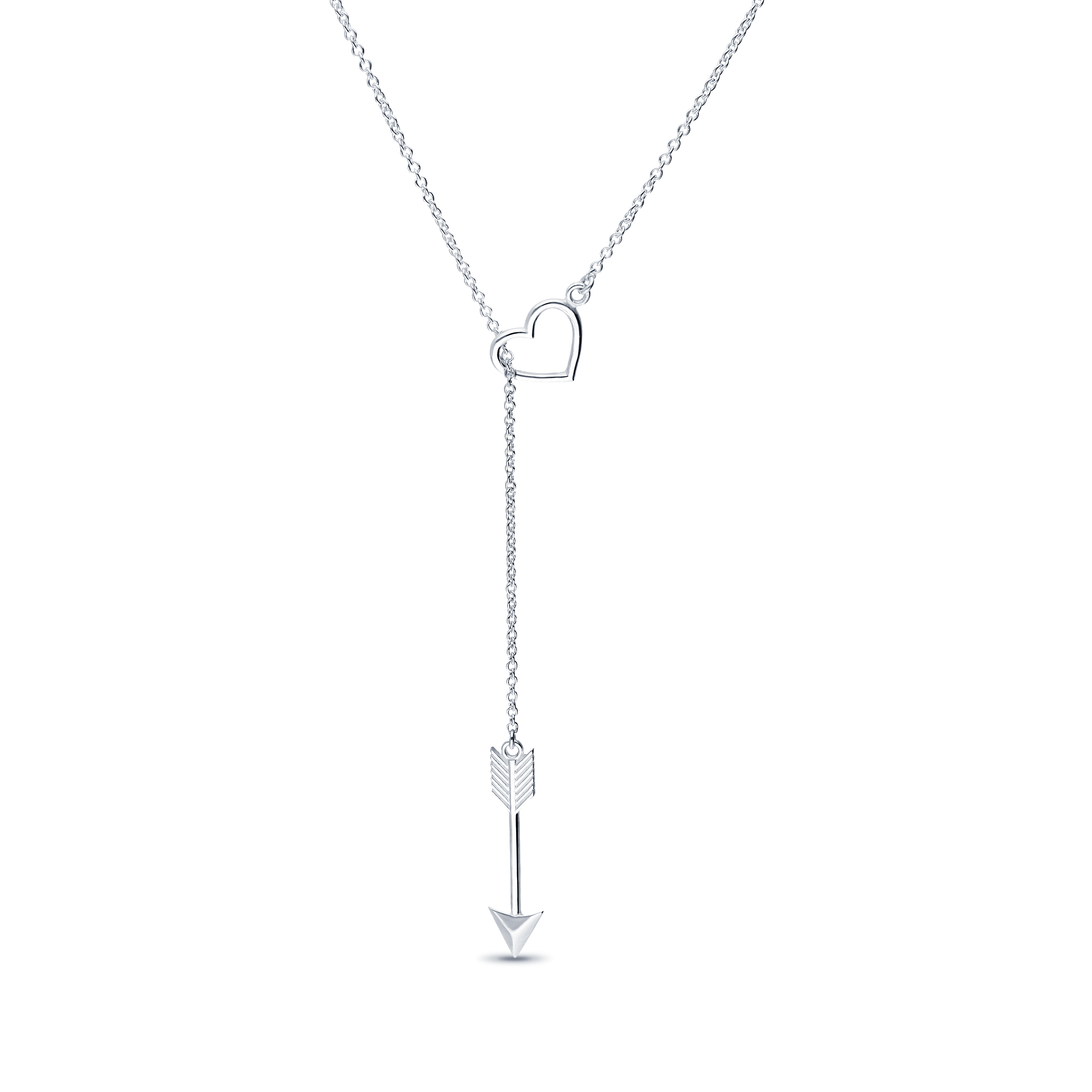 1063-1307 - 925 Sterling Silver Arrow and Heart Necklace
