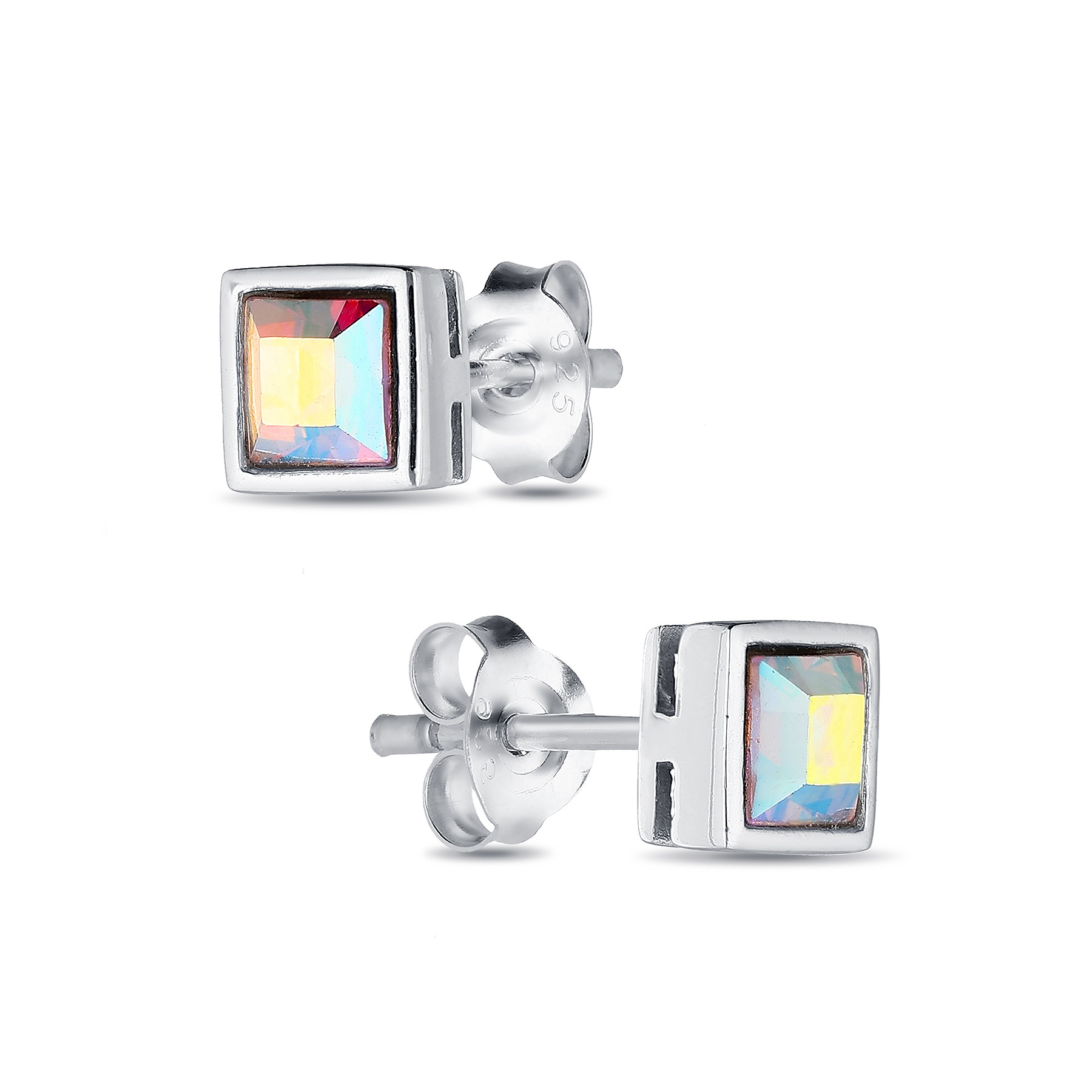 1583-157 - Sparkle by 7K - 925 Sterling Silver Square Push-Back Earrings Decorated With Verifiable Authentic Swarovski Crystals