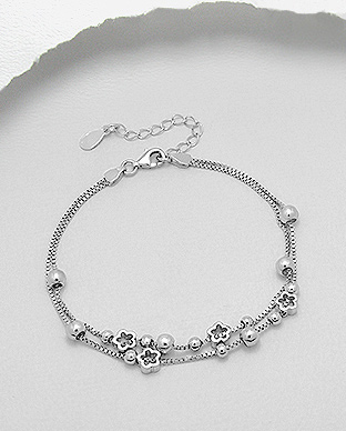 706-21363 - 925 Sterling Silver Ball and Flower Bracelet