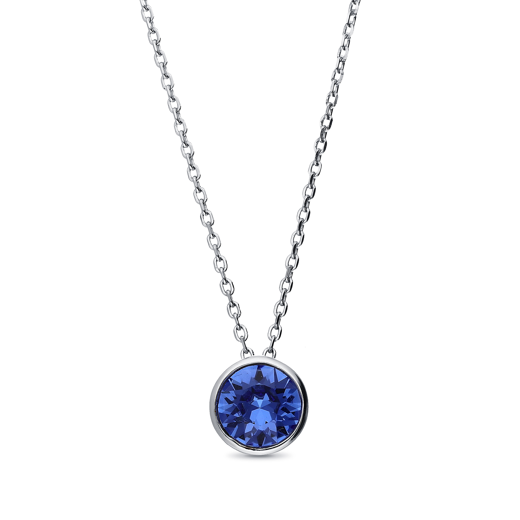 1583-160 - Sparkle by 7K - 925 Sterling Silver Necklace Decorated with Verifiable Authentic Swarovski Crystal
