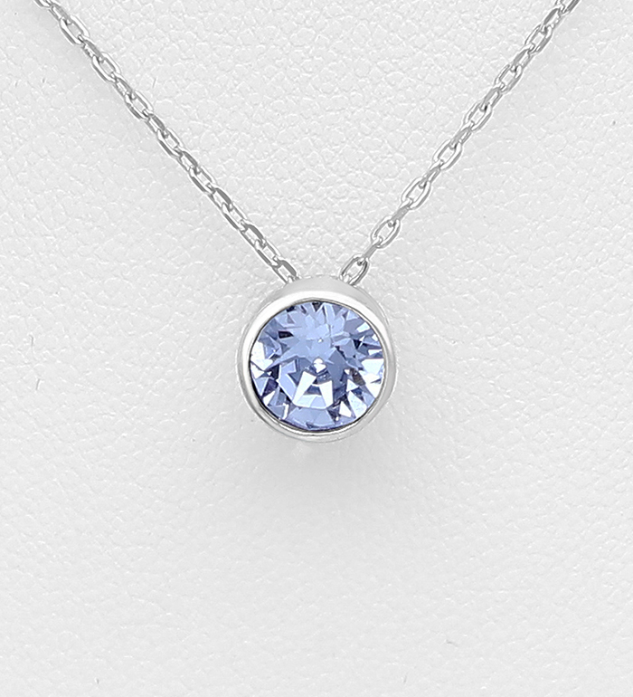 1583-160 - Sparkle by 7K - 925 Sterling Silver Solitaire Necklace Decorated with Authentic Swarovski<sup>®</sup> Crystal