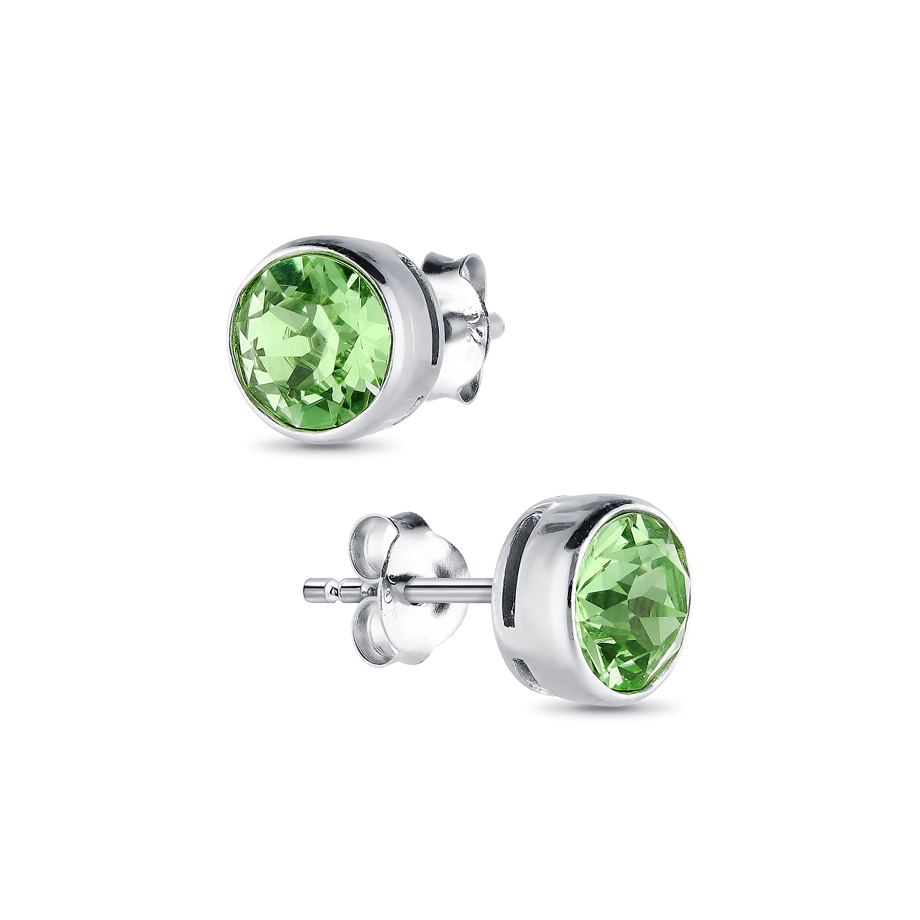 1583-163 - Sparkle by 7K - 925 Sterling Silver Push-Back Earrings Decorated With Verifiable Authentic Swarovski Crystals