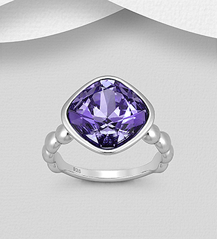 1583-166 - Sparkle by 7K - 925 Sterling Silver Ring Decorated with Authentic Swarovski<sup>®</sup> Crystal