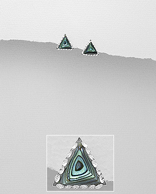 473-2716 - 925 Sterling Silver Triangle Push-Back Earrings Decorated With Crystal Glass & Shell