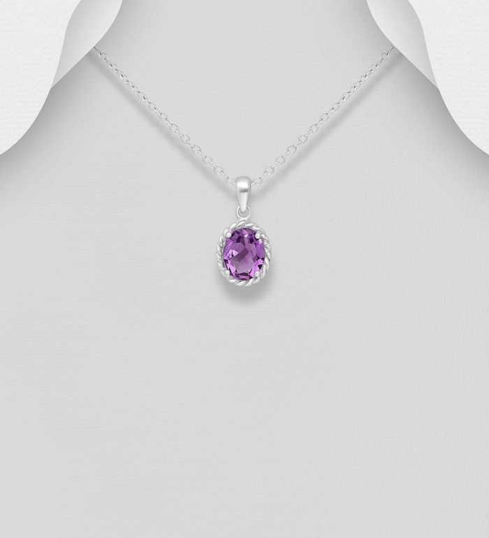 1181-2588 - La Preciada - 925 Sterling Silver Solitaire Pendant, Decorated with Various Gemstones