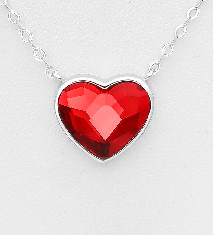 1583-175 - Sparkle by 7K - 925 Sterling Silver Heart Necklace Decorated with Authentic Swarovski<sup>®</sup> Crystal