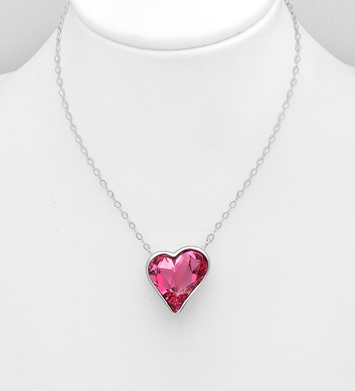 1583-176 - Sparkle by 7K - 925 Sterling Silver Heart Necklace Decorated with Authentic Swarovski<sup>®</sup> Crystal