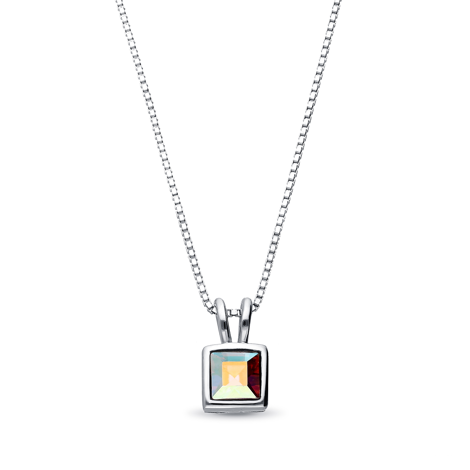 1583-179 - Sparkle by 7K - 925 Sterling Silver Necklace Decorated With Verifiable Authentic Swarovski Crystal