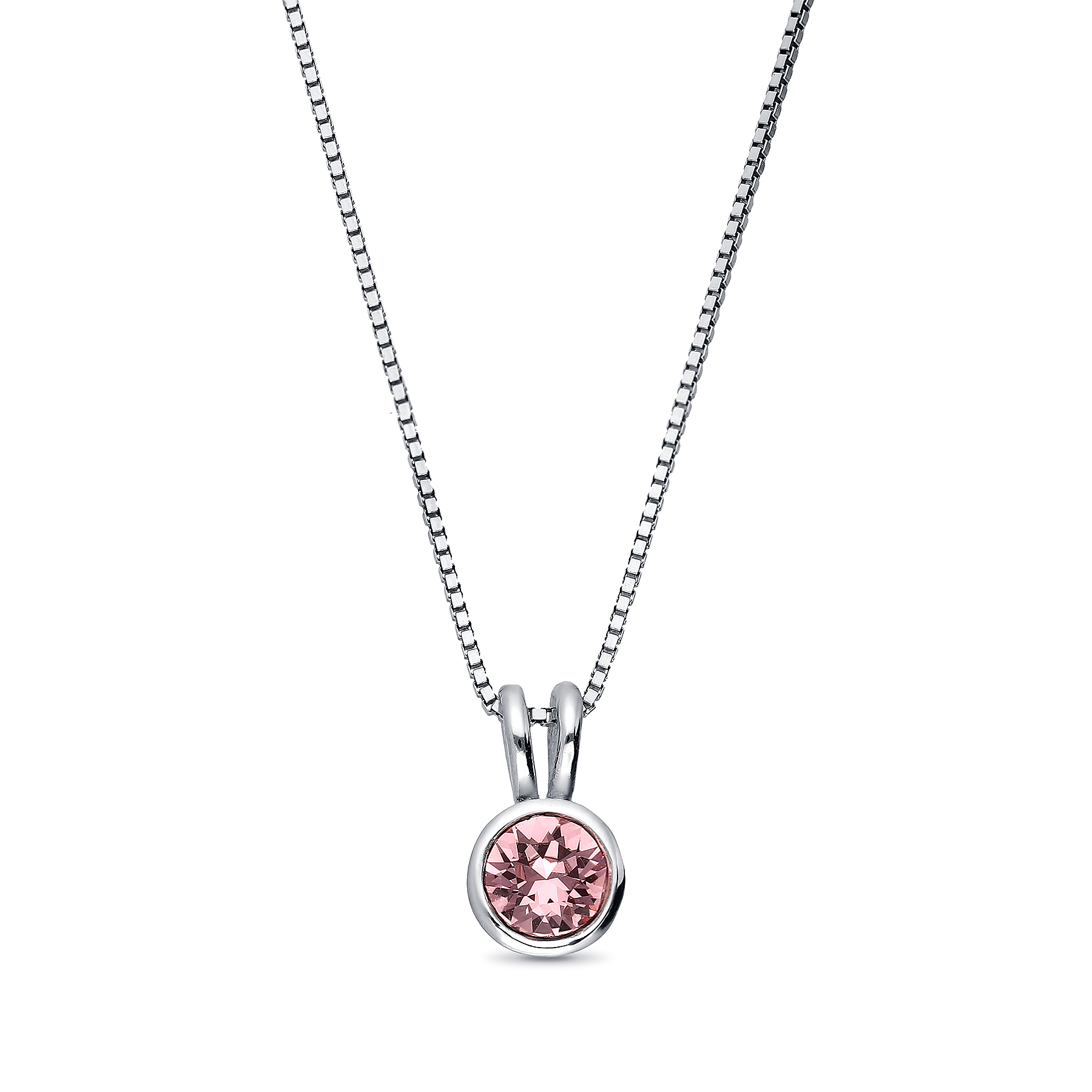 1583-180 - Sparkle by 7K - 925 Sterling Silver Necklace Decorated With Verifiable Authentic Swarovski Crystal