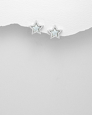 473-2753 - 925 Sterling Silver Star Push-Back Earrings Decorated With CZ & Shell