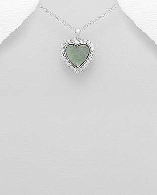 473-2759 - 925 Sterling Silver Heart Pendant Decorated With CZ and Shell