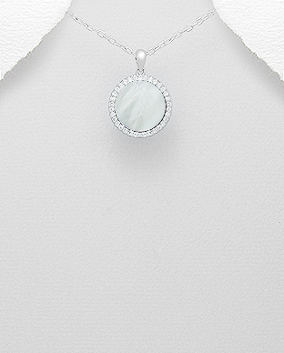 473-2760 - 925 Sterling Silver Pendant Decorated With CZ and Shell