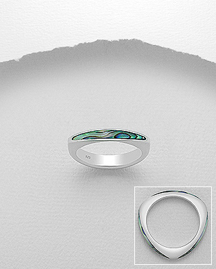 473-2769 - 925 Sterling Silver Ring Decorated With Shell