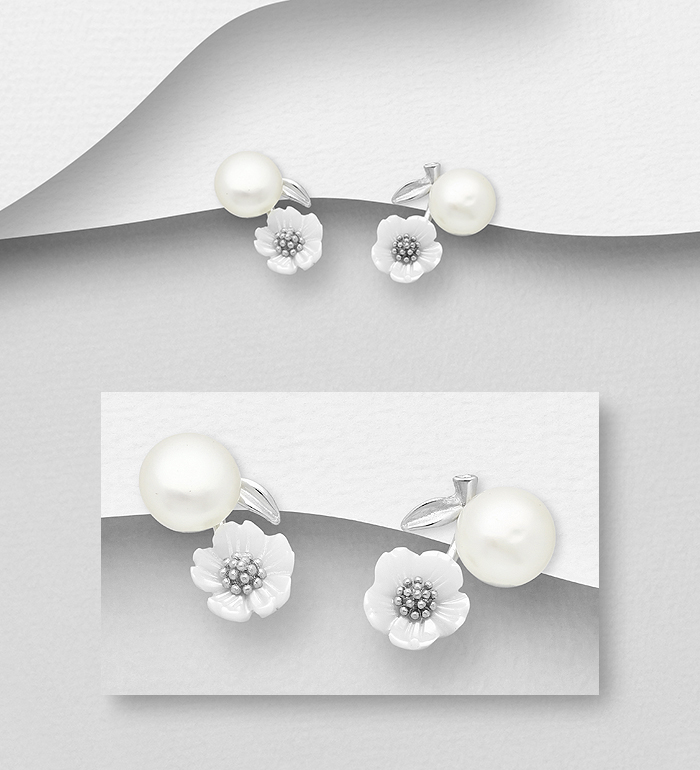 382-3978 - 925 Sterling Silver Flower and Leaf Push-Back Earrings Decorated with Shell and Freshwater Pearl