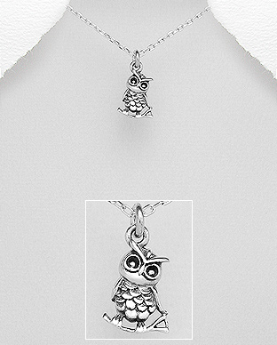 706-22141 - 925 Sterling Silver Owl Pendant