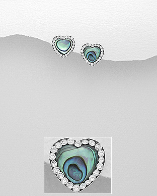 473-2795 - 925 Sterling Silver Heart Post, Push-Back Earrings Decorated With Crystal Glass & Shell