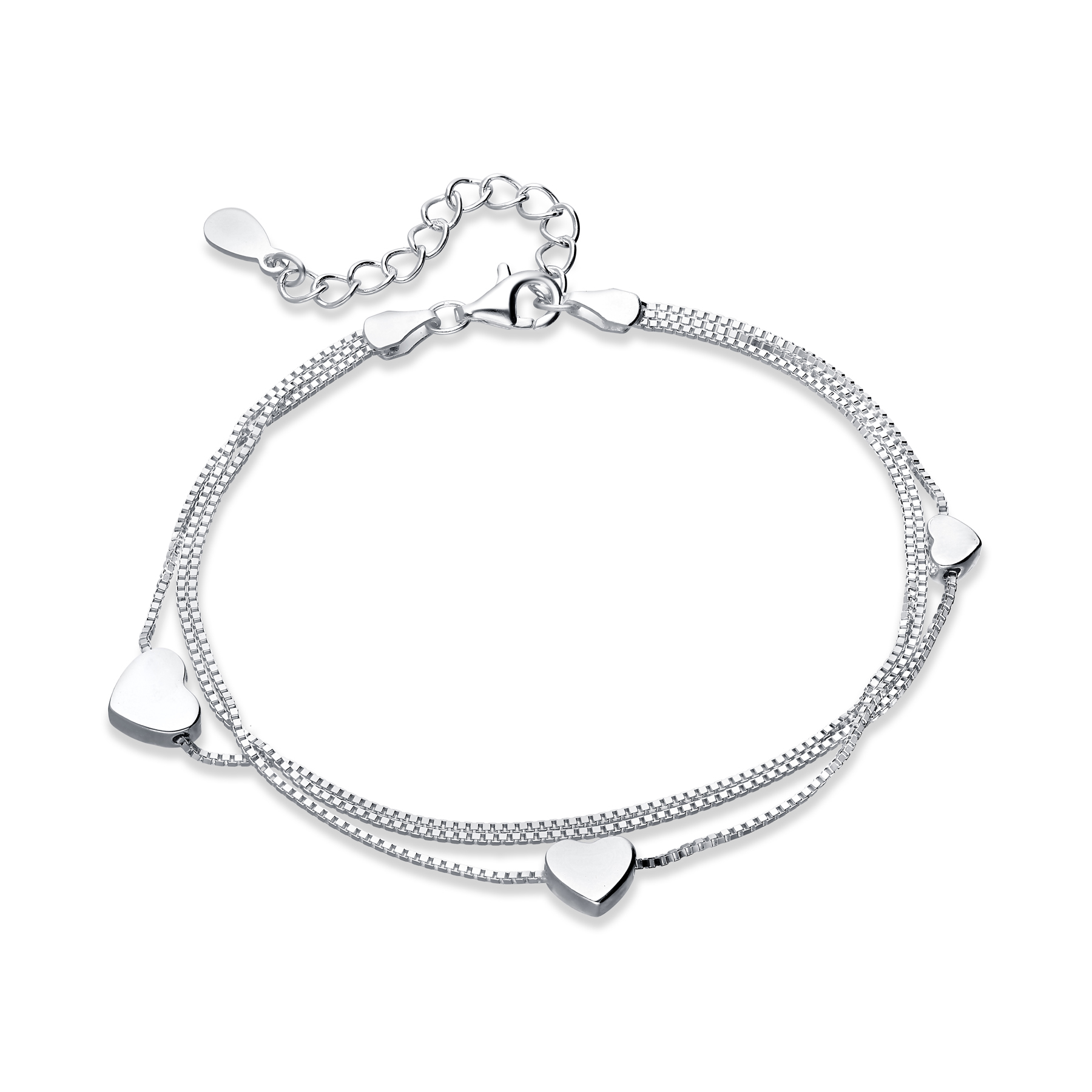 706-22161 - 925 Sterling Silver Bracelet With Heart Charms