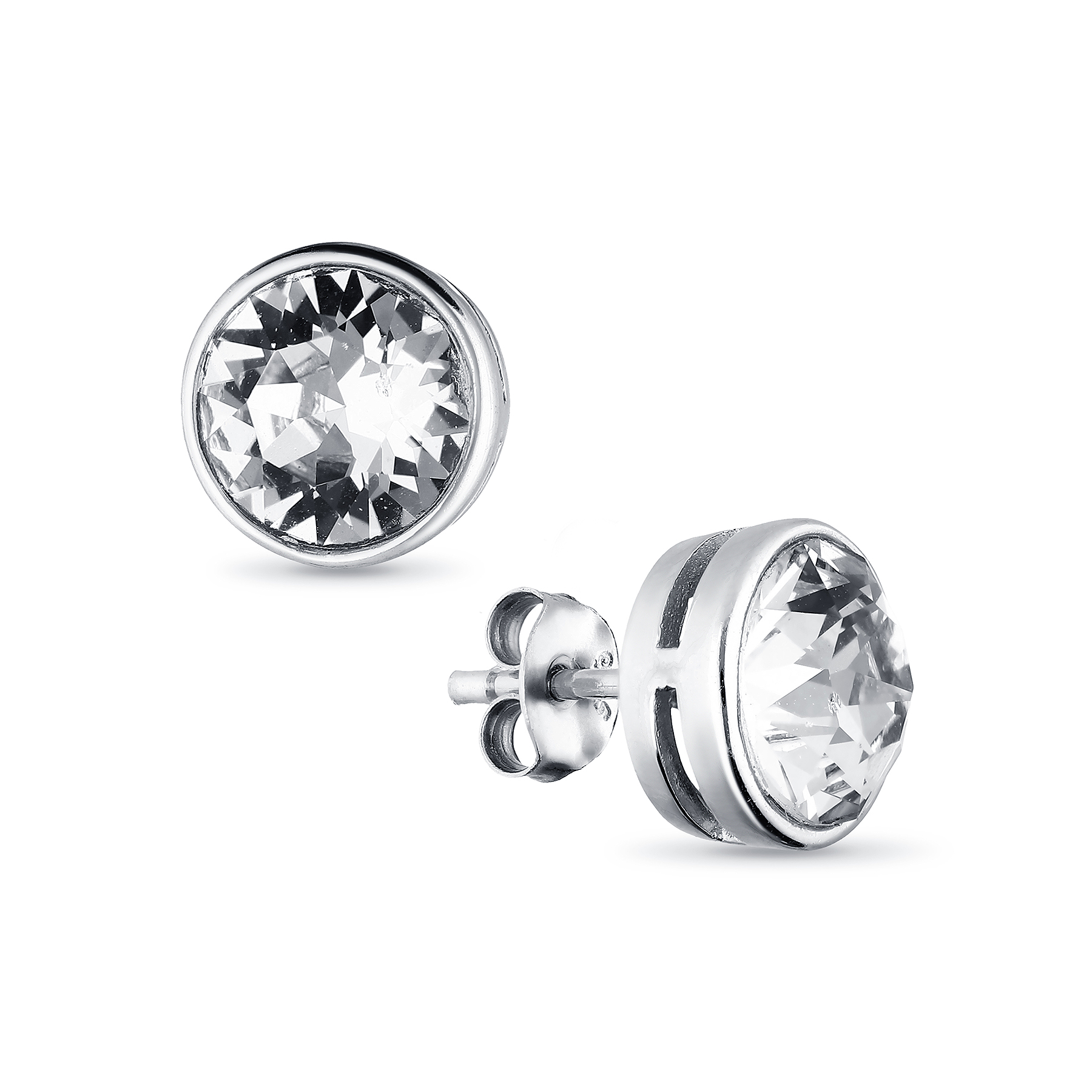 1583-210 - Sparkle by 7K - 925 Sterling Silver Push-Back Earrings Decorated With Verifiable Authentic Swarovski Crystals