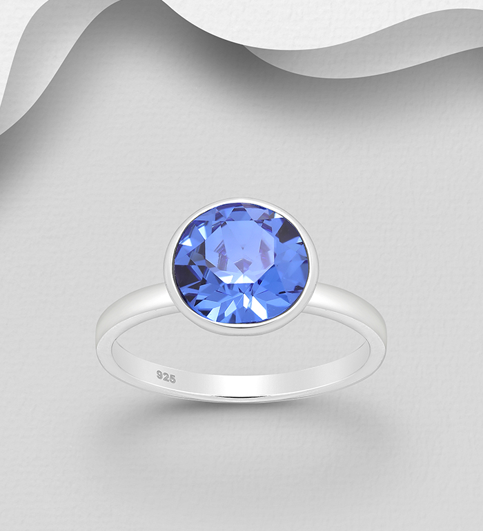 1583-214 - Sparkle by 7K - 925 Sterling Silver Ring Decorated with Authentic Swarovski<sup>®</sup> Crystal