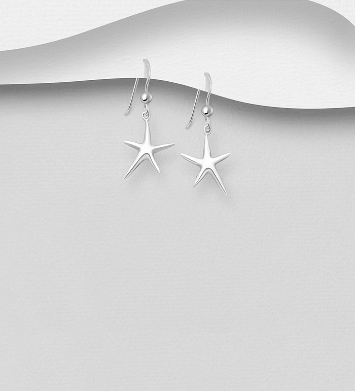 706-22253 - 925 Sterling Silver Starfish Hook Earrings