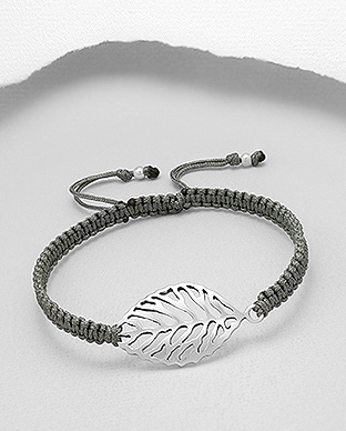 706-22294 - 925 Sterling Silver Leaf with Adjustable Thread Bracelet