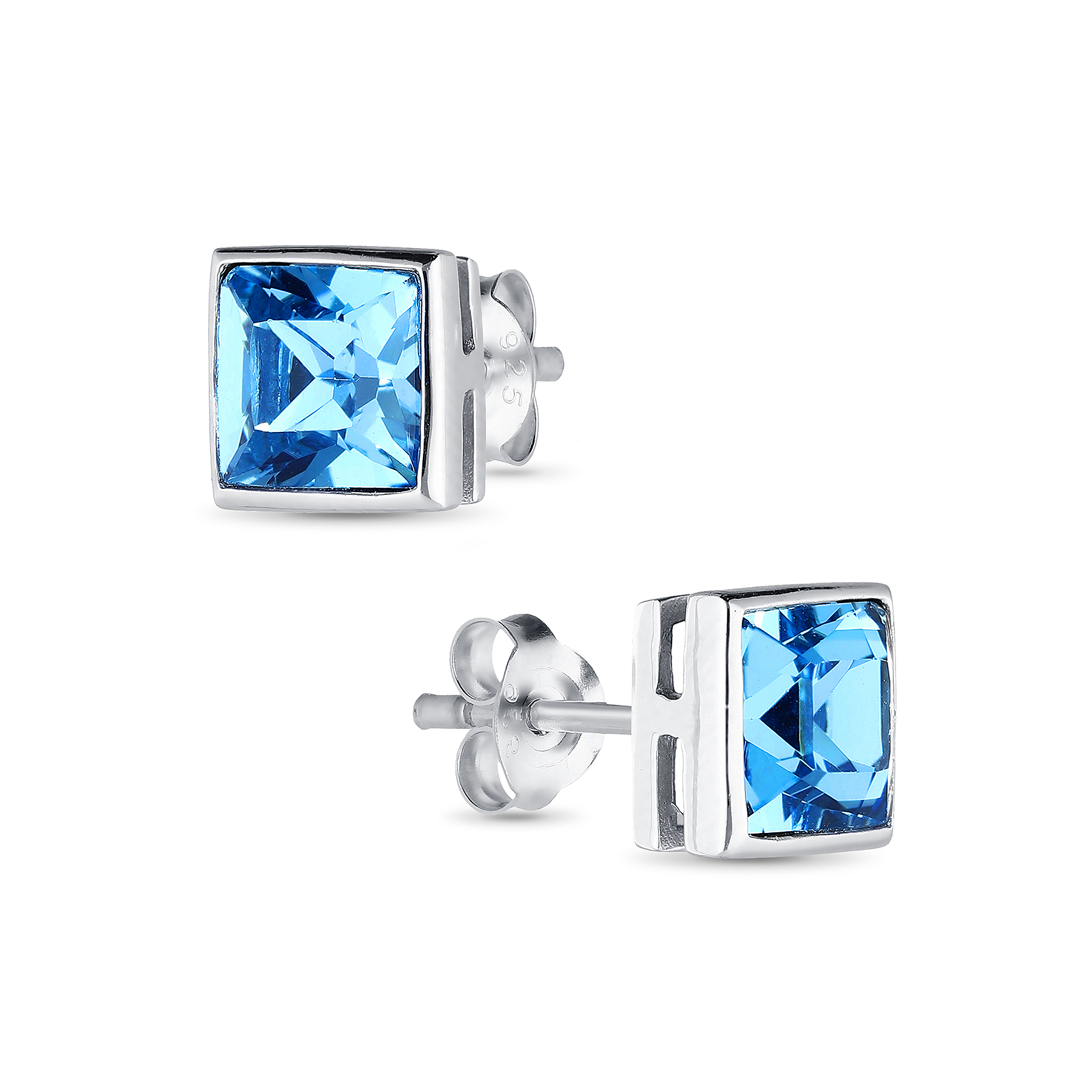1583-224 - Sparkle by 7K - 925 Sterling Silver Square Push-Back Earrings Decorated With Verifiable Authentic Swarovski Crystals