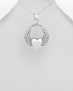 706-22414 - 925 Sterling Silver Heart and Wings Pendant