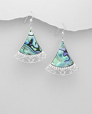 789-2771 - 925 Sterling Silver Hook Earrings Decorated With Shell