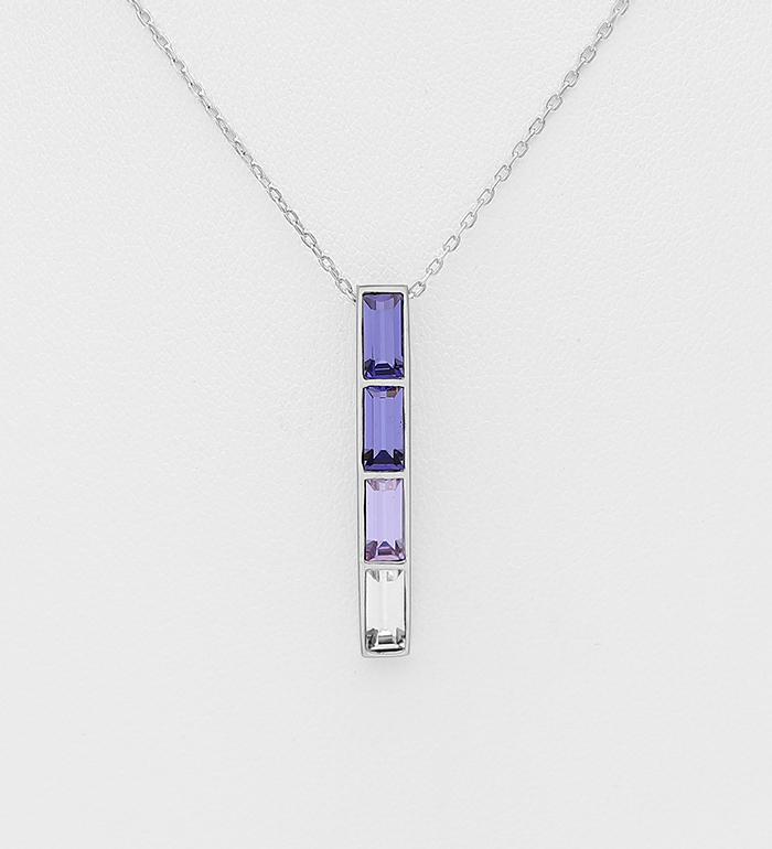 1583-235 - Sparkle by 7K - 925 Sterling Silver Bar Necklace Decorated with Authentic Swarovski<sup>®</sup> Crystals
