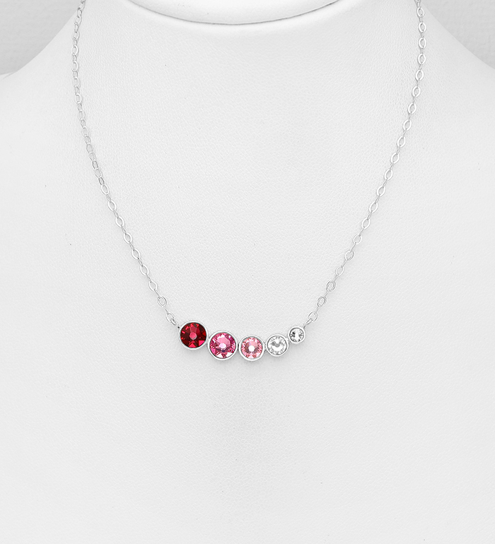 1583-248 - Sparkle by 7K - 925 Sterling Silver Necklace Decorated with Authentic Swarovski<sup>®</sup> Crystals