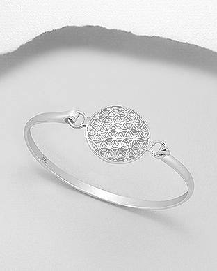 706-22771 - 925 Sterling Silver Flower Of Life Bangle