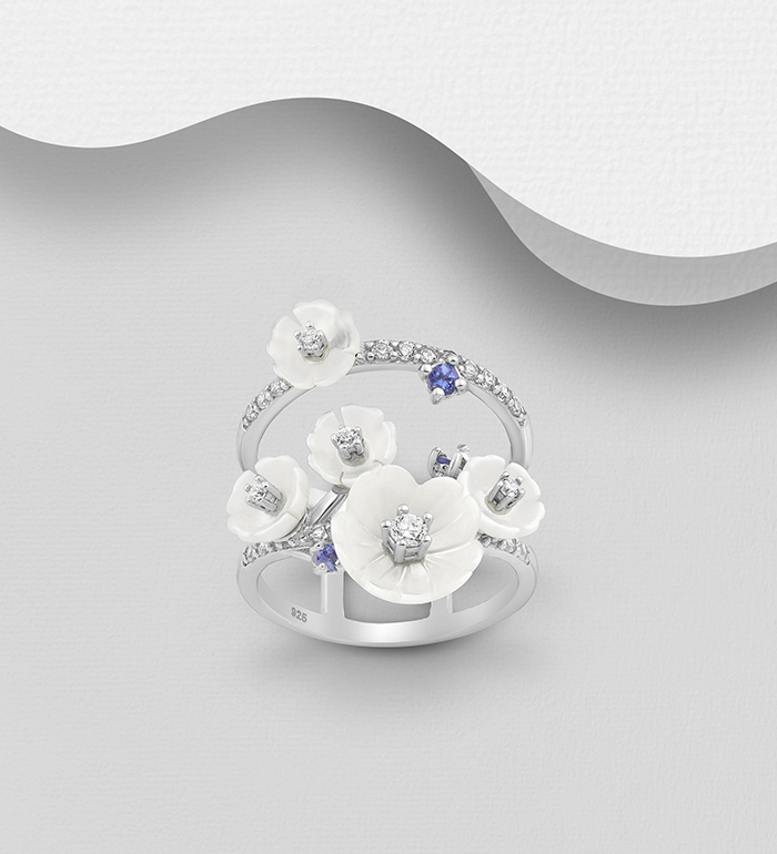 883-5031 - 925 Sterling Silver Flower Ring Decorated with Tanzanite, CZ Simulated Diamonds and Shell