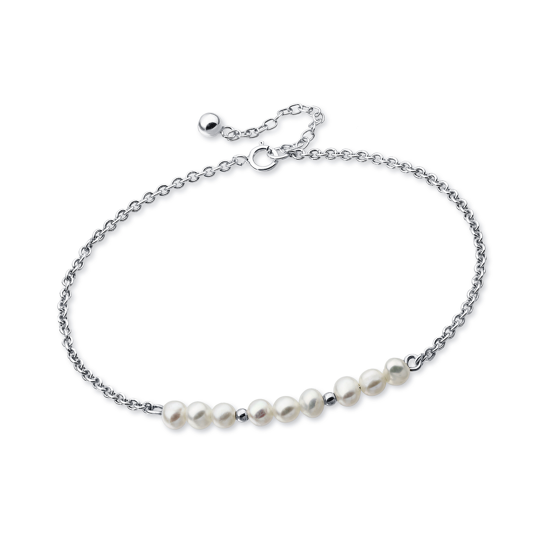 382-4264 - 925 Sterling Silver Bracelet Beaded With Fresh Water Pearls