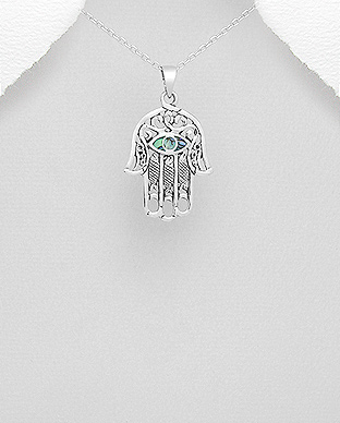 473-2881 - 925 Sterling Silver Eye and Hamsa Pendant Decorated With Shell