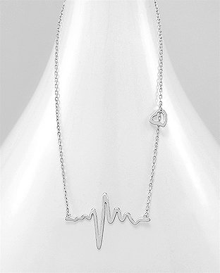 706-22942 - 925 Sterling Silver Heart and Heartbeat Necklace
