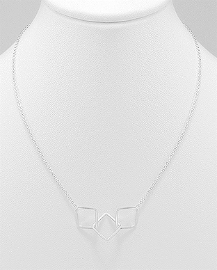 706-23221 - 925 Sterling Silver Links and Square Necklace