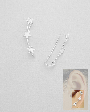 706-23680 - 925 Sterling Silver Star Ear Pins