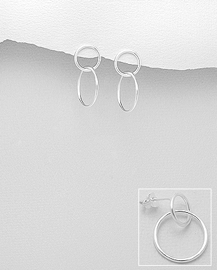 706-23697 - 925 Sterling Silver Circle & Links Push-Back Earrings