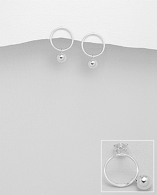 706-24011 - 925 Sterling Silver Ball & Circle Push-Back Earrings