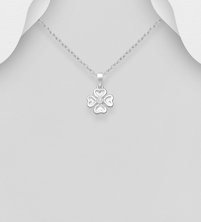 1063-1632 - 925 Sterling Silver Clover Pendant Decorated with CZ Simulated Diamonds