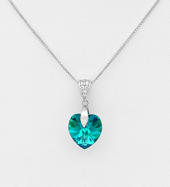 1583-287 - Sparkle by 7K - 925 Sterling Silver Heart Necklace Decorated with CZ Simulated Diamonds and Authentic Swarovski<sup>®</sup> Crystal